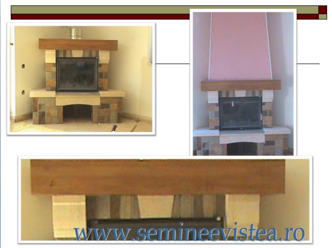 semineu rustic cu element din lemn masiv si piatra springuita de nuant diferite